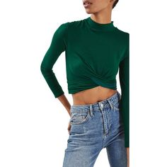 Women's Topshop Twist Front Crop Top ($35) ❤ liked on Polyvore featuring tops, bottle, stretchy tops, cut-out crop tops, bohemian style tops, bohemian tops and green crop top