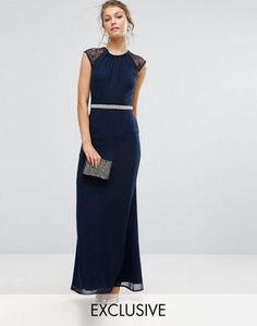 Vestido largo adornado con espalda de encaje de Elise Ryan