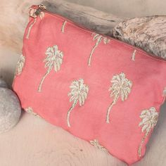 Buy Elizabeth Scarlett Palmier Coral Travel Pouch Wash Bag Now at Dotmaison. Quality designer homewares & Free UK delivery over Cotton Bag, Cotton Canvas, Cute Coin Purse, Hand Illustration, Metallic Thread, Wash Bags, My Favorite Color, Night Out, Pouch
