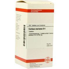 CARDUUS MARIANUS D 4 Tabletten:   Packungsinhalt: 200 St Tabletten PZN: 03486776 Hersteller: DHU-Arzneimittel GmbH & Co. KG Preis: 10,49…