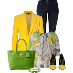 yellow green, created by oxigenio on Polyvore