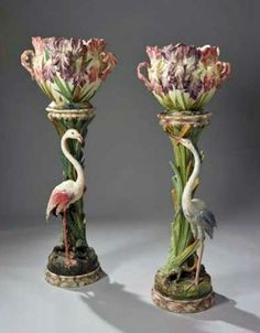 Massier majolica jardinieres and stands