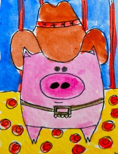 Cowboy Piggy....ahhh Rodeo Art Kindergarten: quarter 4: combine shapes