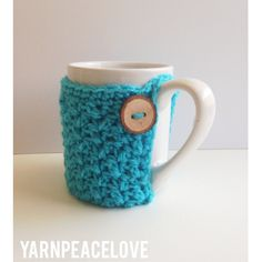 Turquoise or Brown Textured Mug Cozy with Wood Button-Ready To Ship! - pinned by pin4etsy.com