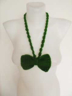 hand crochet bow tie necklace green by talentedladym on Etsy, $19.90