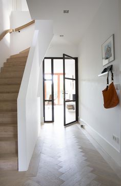 Modern hallway, entry hallway, entrance hall, white hallway, hallway id Modern Hallway, Entry Hallway, White Hallway, Hallway Ideas Entrance Narrow, Entrance Hall, Modern Barn House, Hallway Inspiration, Interior And Exterior, Interior Design