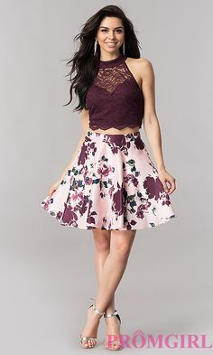 Two-Piece Homecoming Dress with Short Print Skirt Homecoming Dress Two Pieces Homecoming Dresses Homecoming Dresses 2019 Semi Dresses, Hoco Dresses, Trendy Dresses, Cute Dresses, Beautiful Dresses, Party Dresses, Fashion Dresses, Purple Homecoming Dresses, Teen Dance Dresses