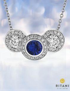 Three-Stone Diamond and Blue Sapphire Pendant | #Sapphire #Jewelry