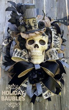 Excited to share this item from my shop: Halloween Wreath, Mr. Bones Wreath, Scary Halloween W Scary Halloween Wreath, Burlap Halloween, Dollar Tree Halloween, Purple Halloween, Homemade Halloween, Halloween Skull, Fall Halloween, Halloween Crafts, Halloween Decorations