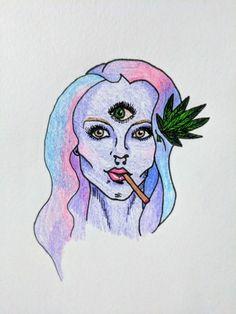 smileyvamp: Had to draw my favorite creepy alien babe Sick Drawings, Alien Drawings, Art Drawings, Tattoo Drawings, Alien Painting, Smoke Drawing, Star Goddess, Marijuana Art, Stoner Art