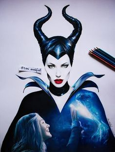 Drawing Maleficent by Toni Mahfud // This is really talented german artist, watch the video till the end, it is really worth it Disney Drawings, Cool Drawings, Drawing Sketches, Pencil Drawings, Pencil Art, Toni Mahfud, Maleficent Drawing, Harry Potter, Art Folder