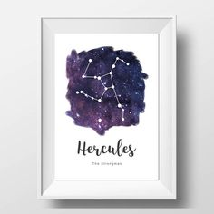 Hercules - Constellation Print - Galaxy Decor - Constellation Art - Astronomy Print - Astronomy Decor - Astronomer Gift - The Strongman