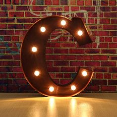 SOLMORE 30x5cm LED Wall Letter Light up Letter Wort Licht A-Z Metall Lampe Buchstaben Licht Marquee Alphabet Abziehbilder Dekoration f�r Geburtstag, Hochzeit, Party, Caf�, Weihnachten, Disco (Schoko C