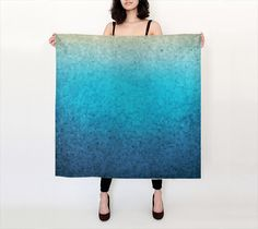 Blue Silk Scarf Sea Glass Mosaic Design Teal By ArtfullyFeathered