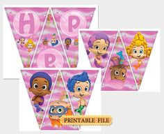 Bubble guppies birthday party banner pink Bubble by BeHappyDesign