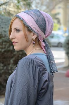 Gray and light pink $43. sinar apron-shaped headscarf, head scarf, scarf, scarves, tichel, mitpachat, hat, cap, snood, bandana, hair cover, haircover, haircovering, head cover, headcover, headcovering, hijab, modest, modesty, tznius, tzniut