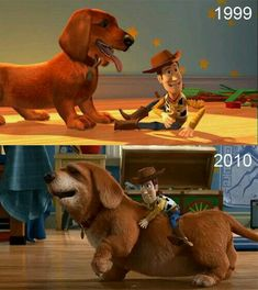 Buster was a puppy in the first Toy Story, so that'd make him 15 in Toy Story 3. That's about how long dachshunds like him live.