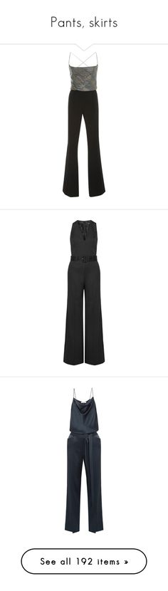 """Pants, skirts"" by bliznec ❤ liked on Polyvore featuring jumpsuits, metallic, jump suit, metallic jumpsuit, flared jumpsuit, black, fitted tops, crepe jumpsuit, wide leg jumpsuit and theory jumpsuit"