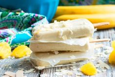 Pina Colada Pops - Pineapples, bananas, and coconut milk give this summer treat its great flavor! Pina Colada Popsicle Recipe, Pina Colado, Banana Coconut, Coconut Milk, Popsicle Recipes, Summer Treats, Non Alcoholic, 4 Ingredients, Popsicles