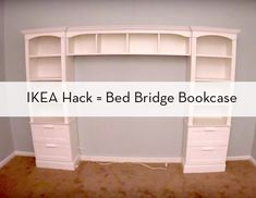 How to make a bed bridge bookcase from IKEA furniture.