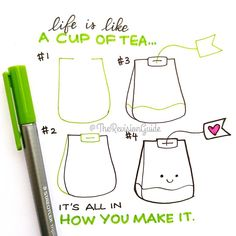 "Drawing Doodles Ideas ""Tea anyone? More how to draw doodles at Kawaii Drawings, Doodle Drawings, Easy Drawings, Doodle Art, How To Draw Doodle, How To Draw Cute, How To Make, Banners Bullet Journal, Doodle Bullet Journal"