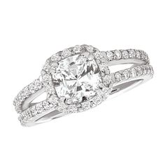 117018 Cushion Cut Halo and Split Shank Diamond Engagement Ring