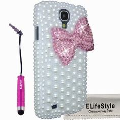 Amazon.com: Elifestyle New 3D Bling Bowknot Bow Decorate full Pearls Rhinestone Case Cover Hard White for Samsung Galaxy S4 S IV i9500 (Colour: Black, Red,Hot Pink ,Pink, Purple, Turquoise) (Pink): Cell Phones & Accessories