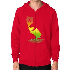 California Roots (Rasta surfer colors) Zip Hoodie (on man)