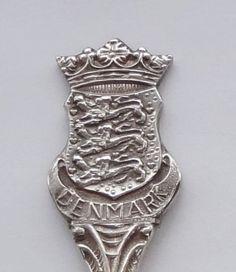 Collector Souvenir Spoon Denmark Coat of Arms Figural