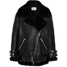 Acne Studios Oversized shearling biker jacket ($2,800) ❤ liked on Polyvore featuring outerwear, jackets, acne, black, moto jacket, moto zip jacket, black zip jacket, oversized jacket and acne studios