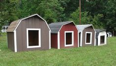 large dog houses painted different colors