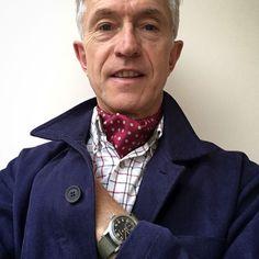 "360 To se mi líbí, 11 komentářů – David Evans (@greyfoxblog) na Instagramu: ""Wearing a gorgeous printed silk cravat from @cravatclub #madeinengland Shirt @curzonclassics Cotton…"""