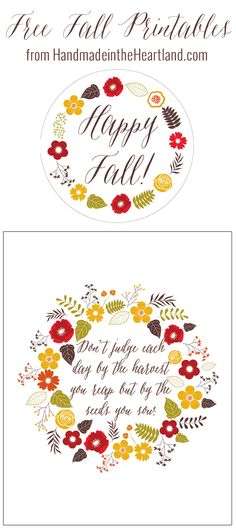 """Free Fall Printables by HandmadeintheHeartland.com Great """"happy fall"""" gift tag and beautiful fall quote to print out for your fall home decor!"""
