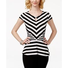 Inc International Concepts Striped Peplum Top, ($60) ❤ liked on Polyvore featuring tops, deep black, black top, inc international concepts tops, black peplum top, striped top and black striped top
