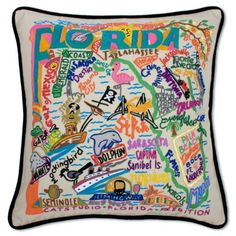 FLORIDA HAND-EMBROIDERED PILLOW - states - hand-embroidered - pillows - shop