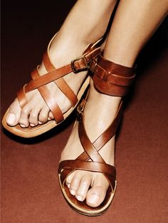 Leather sandals by Giampaolo Sgura