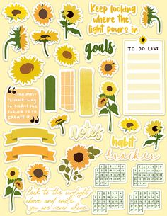 Sunflower themed journal stickers for July. Journal Stickers, Scrapbook Stickers, Planner Stickers, Planner Pages, Bullet Journal Writing, Bullet Journal Ideas Pages, Homemade Stickers, Diy Stickers, Bellet Journal