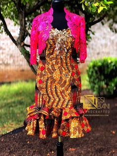 JAZZ QUEEN Fuchsia Bolero & Bronze Bustier Mermaid Dress, Floral Appliqué, Couture Dress, Special Occasion, Bridal, Wedding Anniversary