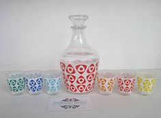 SOLD by NBV - more vintage finds added daily. Retro French decanter & shot glass set $38, c1950s, full set in excellent condition. Great bright colours & fun accent piece.