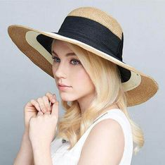 6264d82d954 Color block straw hat with bow for women wide brim sun hats UV protection