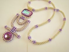 """Artbeader """"jewelryblue"""" created this fabulous necklace with our 8/0 TOHO seed beads. What a stunning piece!"""