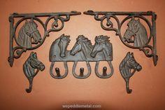 Set of 5) Cast Iron Horse Design Collection, shelf brackets, wall hooks, free shipping, (TC) (W)