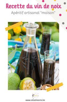 """Voici la recette traditionnelle du vin de noix artisanal. Une recette """"maison"""" facile et rapide à préparer, à base de noix vertes fraîches. Un alcool d'apéritif ou de digestif qui se prépare aux alentours de la Saint-Jean (24 juin) et se déguste en automne. #vin #noix #maison #traditionnel Voss Bottle, Water Bottle, Girl Cooking, Saint Jean, French Girls, Cocktails, Drinks, Coin, Artisanal"""