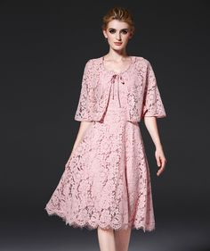 Online Shop Stylish Knee-length Lace Cape and Spaghetti Strap Dress, Two-piece Cloak Type Lace Dress | Aliexpress Mobile