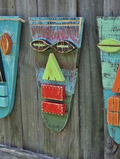 Wood SculptureTiki Mask Primitive Wall Hanging by TheSavvyShopper1