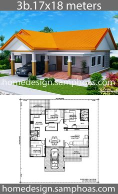 Simple House Plans, Beautiful House Plans, Family House Plans, Dream House Plans, Bungalow Floor Plans, Home Design Floor Plans, Home Building Design, 3 Room House Plan, House Layout Plans