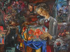 Misha Brusilovsky. Girl & Aquarium. 1975. He paintes many outstanding portraits and works on a large series of pictures and managed to create his own original, author's style, in which traditional painting unites with avant-garde.