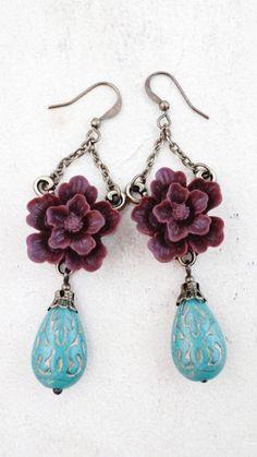 Earrings Wine and Turquoise Sakura Flower dangle by VerdigrisGifts, $19.00
