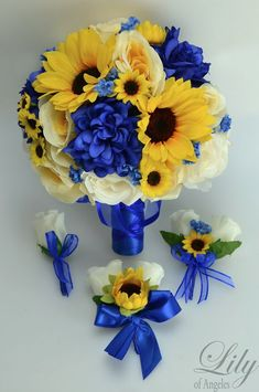 If You Need Different Quantities or Colors Please Contact Us. ---- Model: BLYE06 You are buying a 17 piece package including: 1 Brides round bouquet (10 round) Royal blue Dahlias, yellow Sunflowers, yellow and ivory open Roses accented with mini Sunflowers and blue Baby's Breath. The