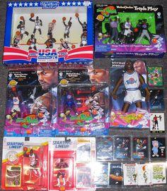Michael Jordan LOT SLU Space Jam MINT CARDS FIGURINES DREAM TEAM USA BASKETBALL #STARTINGLINEUPUPPERDECKSPACEJAM #LooneyTunesUSABASKETBALL